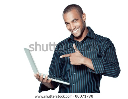 black businessman with laptop - stock photo