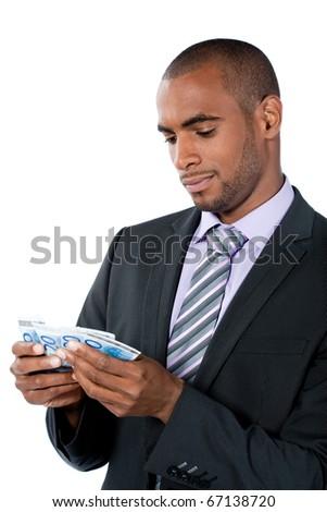 black businessman with money - stock photo