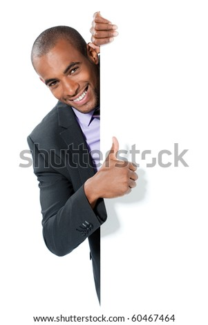black businessman with panel - stock photo