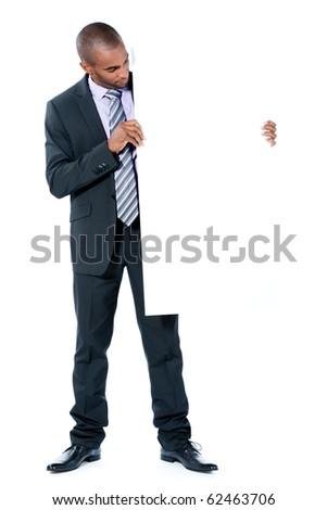 black businessman with panel - stock photo