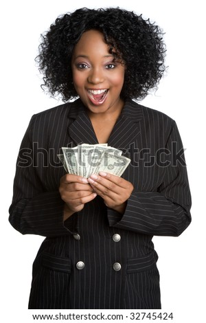 Black Businesswoman Holding Money - stock photo