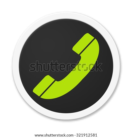 Black button round telephone handset icon - stock photo