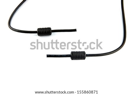 Black cable used to connect the computer on white background.