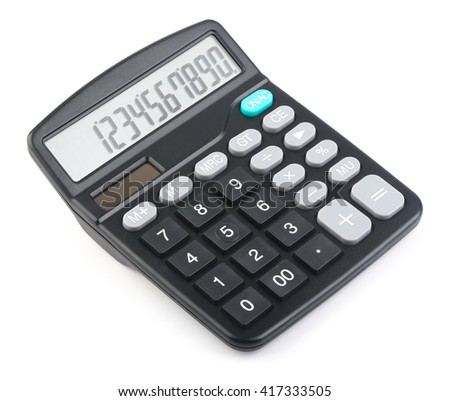 Black calculator is isolated on white background.