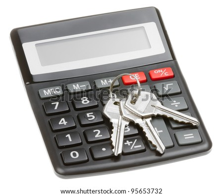 Black calculator with a key isolated on a white background