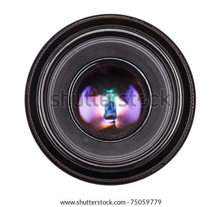 Black camera lens - stock photo