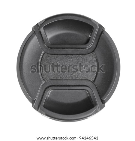 Black camera lens cover isolated on white - stock photo