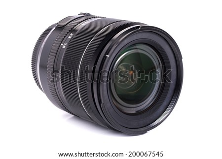 Black camera lens for DSLR isolated on white background - stock photo