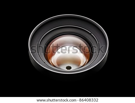 Black camera lens isolated in black background (clipping path ) - stock photo