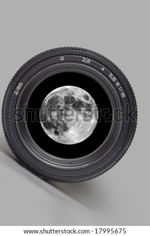 Black camera lens isolated in white background with full moon detailed - stock photo