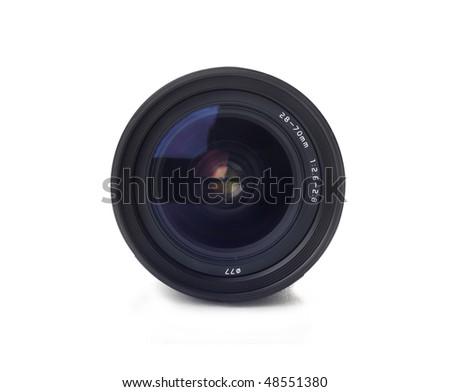 Black camera lens isolated on white - stock photo