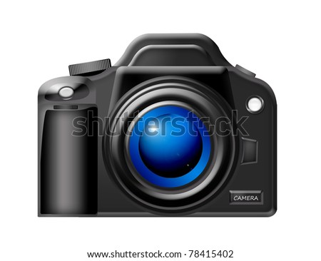 black camera with blue lens over white background.illustration