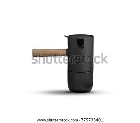 black camping cooking pot on white background