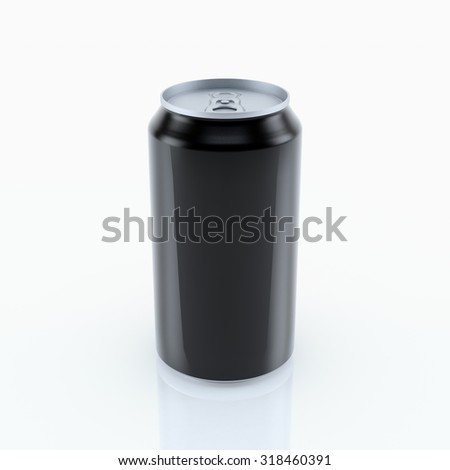 Black can vector visual 330 ml , ideal for beer, lager, alcohol, soft drink, soda, fizzy pop, lemonade, cola, energy drink, juice, water etc. Drawn with mesh tool. Fully adjustable & scalable - stock photo