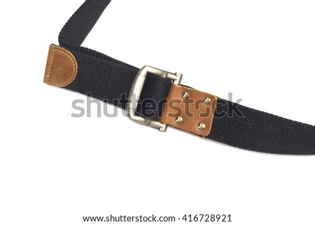 black canvas belt and leather decorate