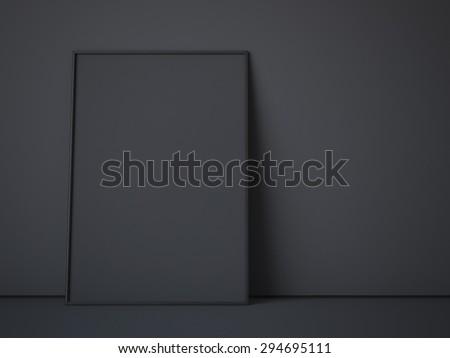 Black canvas in dark interior. 3d rendering - stock photo