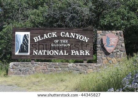 Black Canyon National Park Sign - stock photo