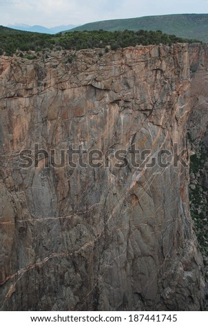 Black canyon of the Gunnison National Park, South Rim, seen from Chasm view in Colorado, USA  - stock photo