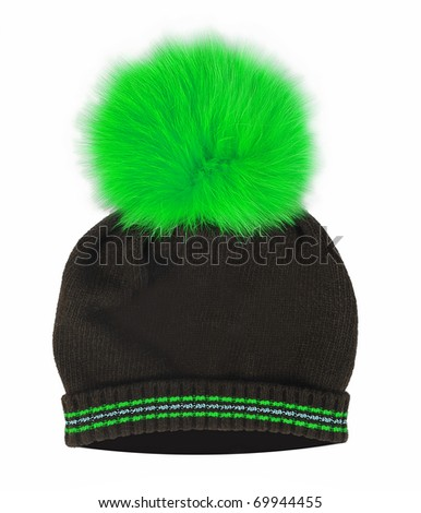 black cap with green pompom - stock photo