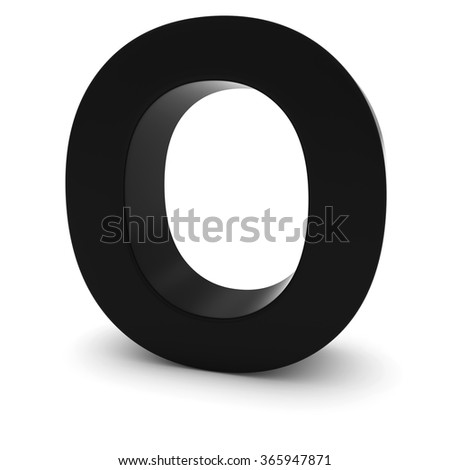 Black Capital O - 3D Letter O Isolated on white