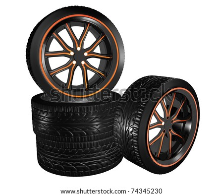 black car rims with orange accents and low profile tires