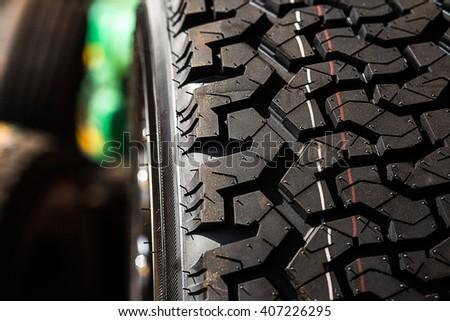 black car wheel - closeup - stock photo