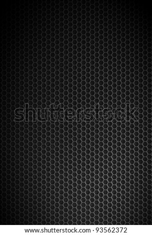 Black carbon hexagonal texture. Industrial background.