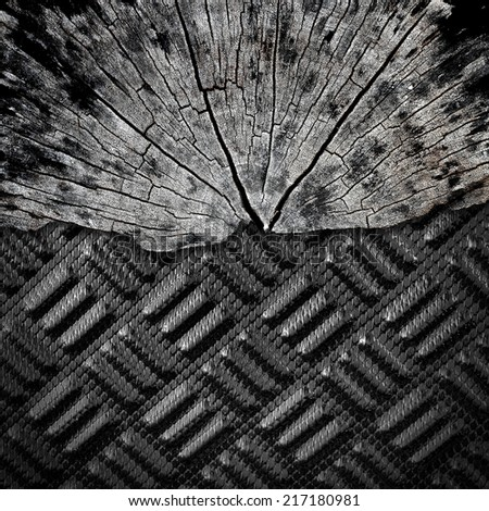 Black carbon Kevlar and wood texture background - stock photo