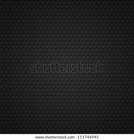 Black carbon seamless pattern with hexagons. Raster version - stock photo