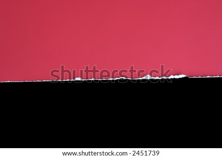 Black card clean tear on a red background - stock photo
