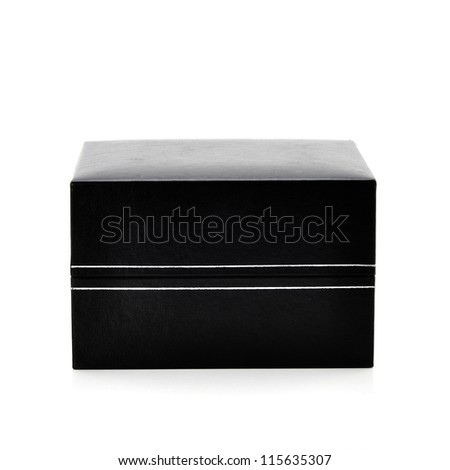 Black cardboard box with the lid off over white background with reflection.