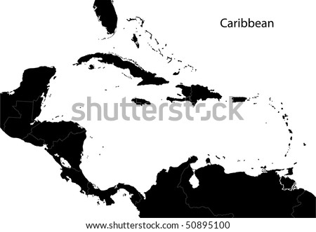 Black Caribbean map separated on the countries - stock photo