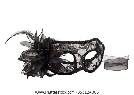 black carnival mask isolated on white background - stock photo