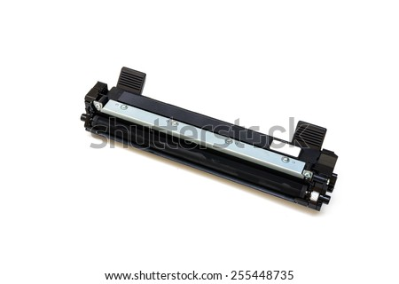 Black cartridge for laser printer isolated on white background - stock photo