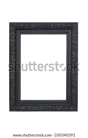Black carved picture frame isolated over white with clipping path. - stock photo