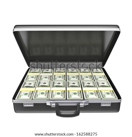 Black case with money - isolated on white background. 3d rendering