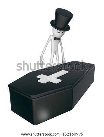 black casket whit christian cross and white guy with topper - 3d illustration - stock photo