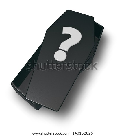 black casket whit question mark - 3d illustration - stock photo