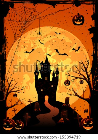 Black castle on the moon background, illustration. - stock photo