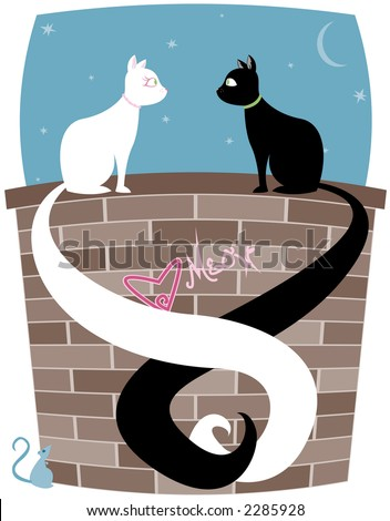 Black cat and white cat on a brick wall, tails entwined... little mouse looks up at the couple - stock photo
