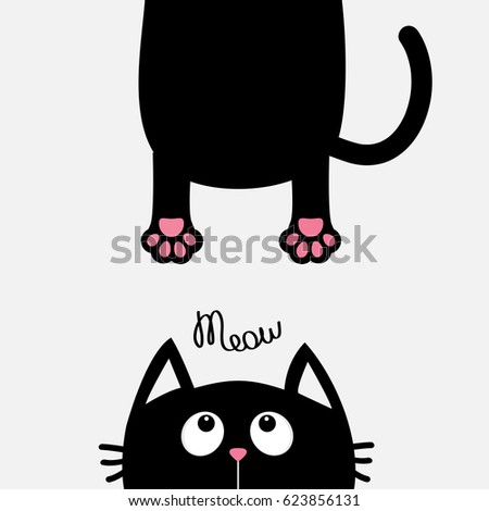 Black Sitting Fat Cat Cartoon Paw Up