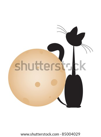black cat sit with big gold moon on white backgrounds - stock photo