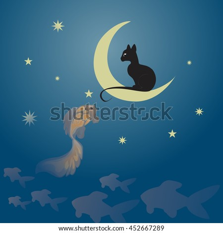 Black cat sitting on the moon and fishing a golden fish among the starry sky.