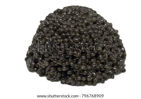 Black caviar isolated on white