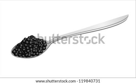 Black caviar on a spoon Raster version, vector file id:119746432 - stock photo