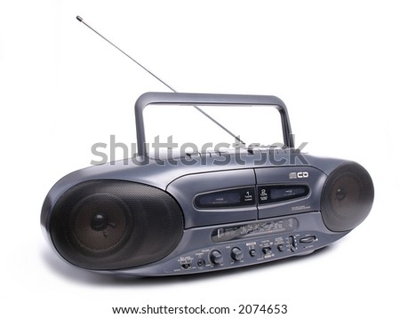 Black CD player and dual tape recorder over white background - stock photo