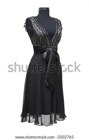 Black celebratory dress on a white background - stock photo