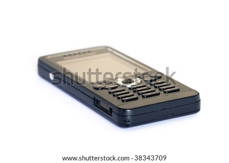 black cellphone isolated on a white background