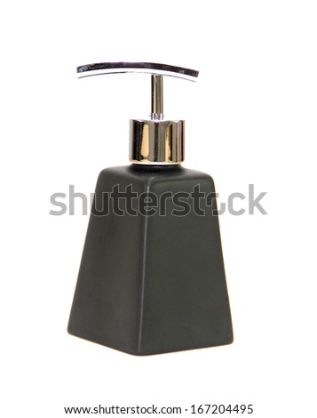 Black ceramic bottle isolated on white background.