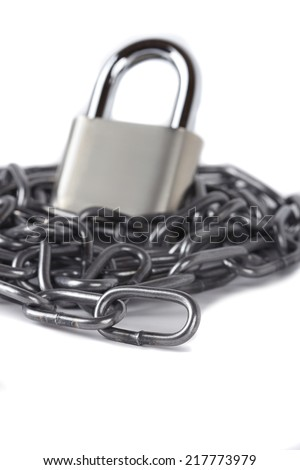 black chain and padlock isolated against a white background - stock photo